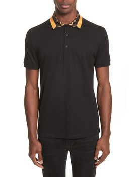 Print Collar Piqué Polo by Versace Collection