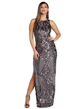 Sarai Pewter Sleeveless Sequin Scroll Dress by Windsor