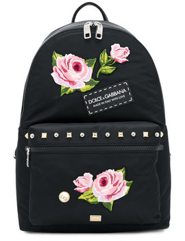 Floral Applique Backpack by Dolce & Gabbana