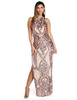Sarai Gold Sleeveless Sequin Scroll Dress by Windsor