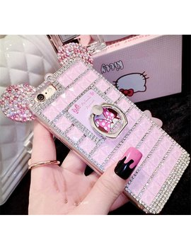 Bling Samsung Galaxy S8 Diamond Case With Chain,Chanyaozy[Diy][Luxury][Stand]Glitter Diamond Mouse Ears Soft Rubber Case (Pink With Ring Holder) by Chanyaozy