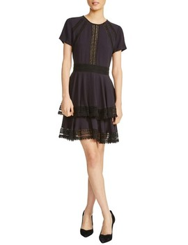 Raglia Lace Inset Mini Dress by Maje
