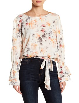 Floral Tie Front Bell Sleeve Top by Socialite