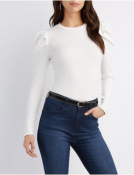 Embellished Shoulder Rib Knit Top by Charlotte Russe