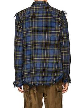 Plaid Distressed Cotton Flannel Shirt by R13