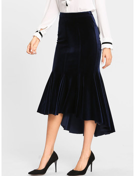 High Low Velvet Trumpet Skirt by Shein