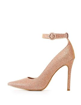 Glitter Ankle Strap Pointed Toe Pumps by Charlotte Russe