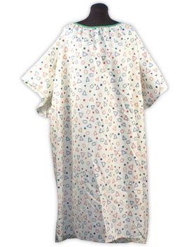Plus Size Hospital Gown 3 X   Geo Print Beige by Nobles Health Care Products