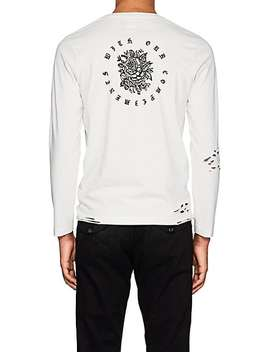 Distressed Graphic Print Cotton Jersey T Shirt by Nsf