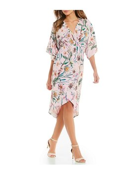 Gianni Bini Lara Floral Printed Faux Wrap Kimono Dress by Gianni Bini