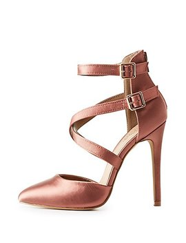 Satin Strappy Caged Dress Sandals by Charlotte Russe