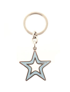 Coach Silver Tone Blue Enamel Cut Out Star Charm Key Chain New by Coach