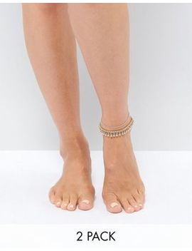 Asos Design Pack Of 2 Disc And Ball Drop Anklets by Asos Curve