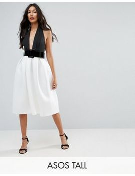Asos Tall Mono Belted Halter Neck Midi Prom Dress by Asos Tall