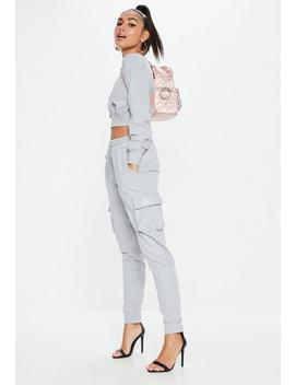 Barbie X Missguided Petite Gray Drawstring Utility Joggers by Missguided