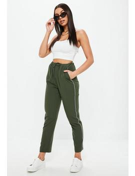 Khaki Binding Side Joggers by Missguided