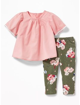 Lace Trim Blouse & Printed Leggings Set For Baby by Old Navy