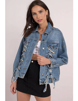 Moon River Savannah Medium Wash Lace Up Denim Jacket by Tobi