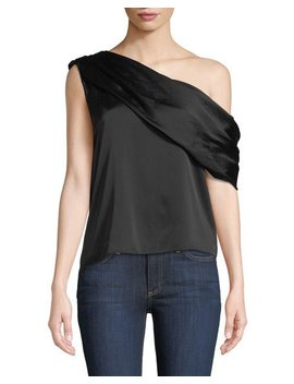 Serita One Shoulder Sateen Drape Tank by Alice + Olivia