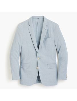 Ludlow Unstructured Suit Jacket In Houndstooth Cotton Linen by J.Crew
