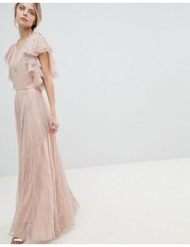 Asos Dobby And Mesh Mix Ruffle Maxi Dress by Asos Collection