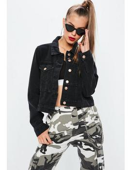 Black Denim Cut And Sew Fitted Denim Jacket by Missguided