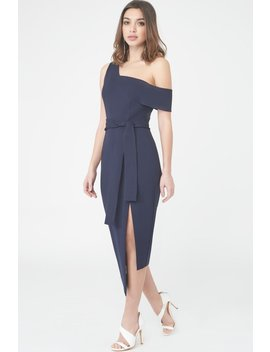 Asymmetric Midi Dress In Navy by Lavish Alice