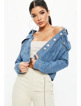 Blue Denim Cut And Sew Fitted Denim Jacket by Missguided