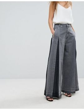 Diesel Wide Leg Jean With Pleat Detail by Diesel