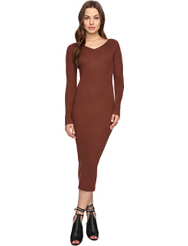 Leah Long Sleeve Ribbed Midi Dress by Culture Phit
