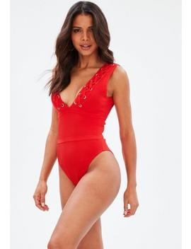 Red Bandage Eyelet Plunge Front Swimsuit by Missguided