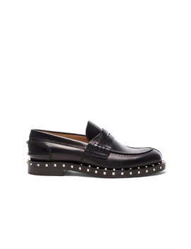 Soul Stud Leather Loafers by Valentino