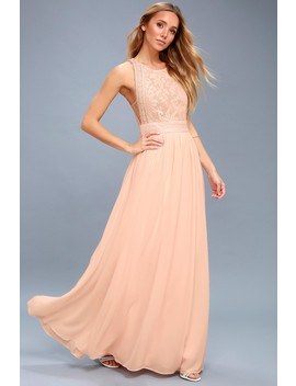 Forever And Always Blush Pink Lace Maxi Dress by Lulus