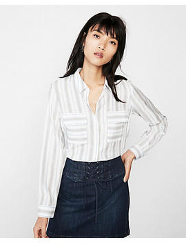 Petite Stripe Round Hem City Shirt By Express by Express