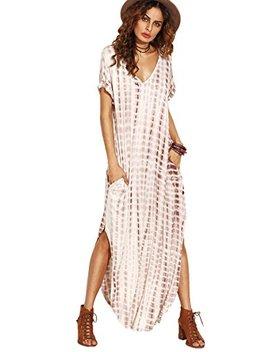 Make Me Chic Casual Maxi Short Sleeve Split Tie Dye Long Dress by Make Me Chic
