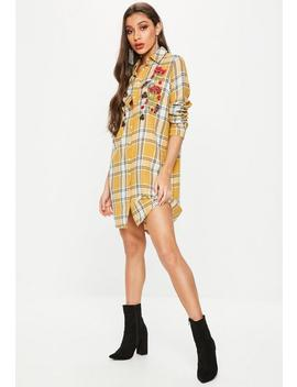 Mustard Yellow Checked Embroidered Long Sleeve Shirt Dress by Missguided