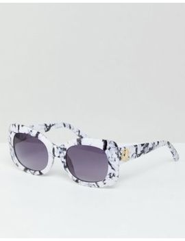 River Island Oversized Square Marble Effect Sunglasses by River Island