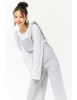 Striped Palazzo Overalls by Forever 21