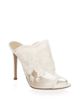 Sheer Lace Mules by Gianvito Rossi