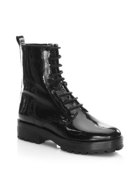 Dustin Patent Leather Booties by Alice + Olivia