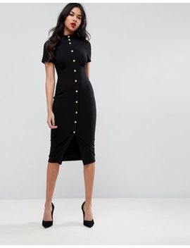 Asos Corset Midi Dress With High Neck & Popper Details by Asos Collection
