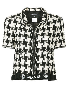Shortsleeved Houndstooth Jacket by Chanel Vintage