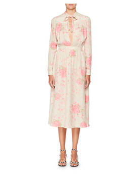 Long Sleeve Tie Neck Silk Georgette Rose Print Ankle Length Dress by Valentino