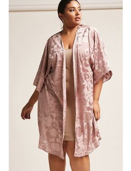 Plus Size Floral Burnout Kimono by Forever 21