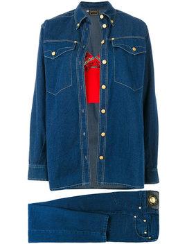 Beaded Bustier & Denim Shirt by Versace Vintage