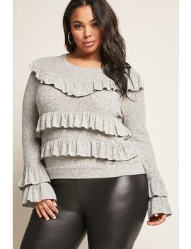 Plus Size Flounce Sweater Knit Top by Forever 21