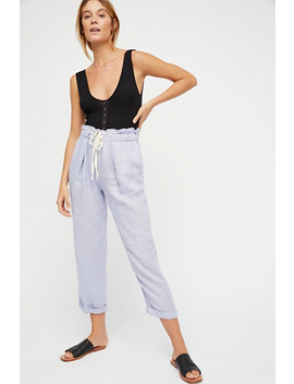Only Over You Linen Straight Leg Pants by Free People