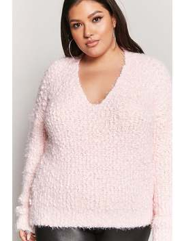 Plus Size Cutout Boucle Knit Sweater by Forever 21