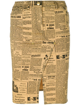 Newspaper Theme Printed Skirt by John Galliano Vintage