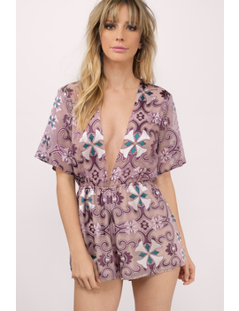 Effie Mauve Printed Romper by Tobi